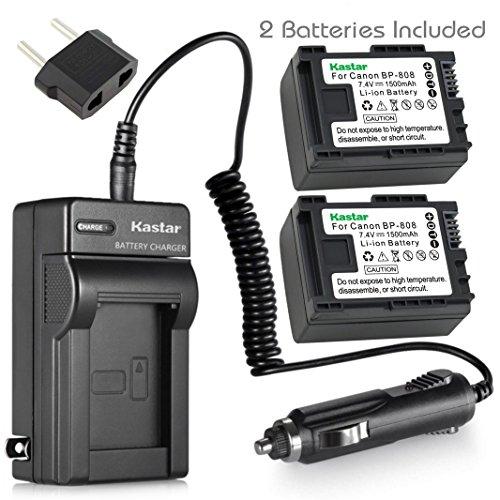 Kastar BP808 Battery (2-Pack) and Charger Kit for Canon BP-807, BP-808, BP-809 and Canon HFM400 HF100 M300 S100 S200 FS36 FS37 HF200 HFS11 HF100 HF20 HG21 FS406 Cameras by Kastar