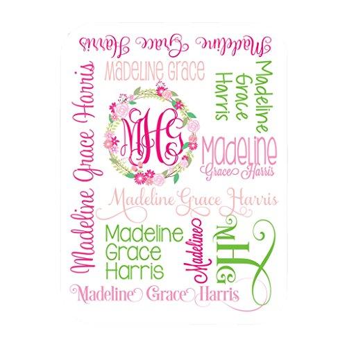 - Personalized Baby Blanket Monogram Swaddle Receiving Blanket Custom Blanket Monogrammed Name (30x40)