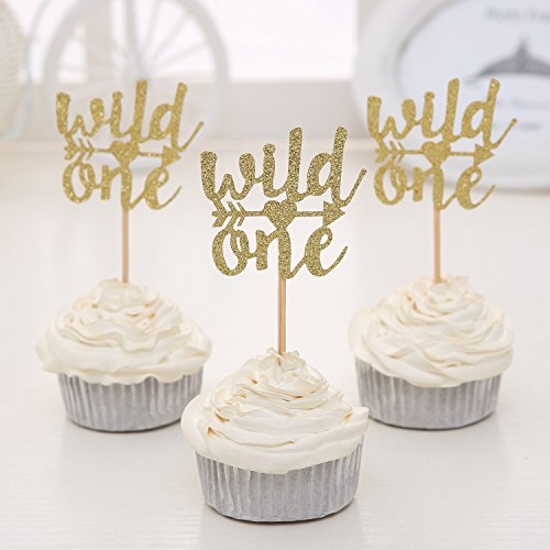 Price comparison product image Set of 24 Gold Glitter Wild One Cupcake Toppers Baby's First Birthday Decors - by Giuffi