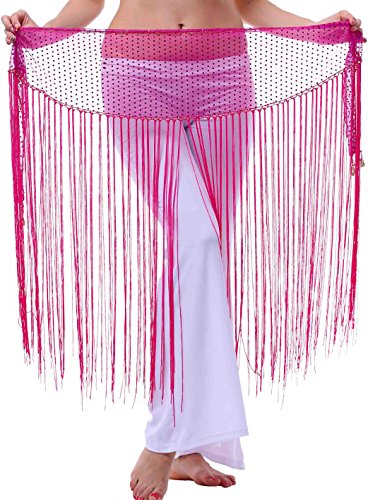 Long Hip Scarf for Show or Dress up with Siny Bling Ending and Fringes Hot Pink XS S M (Cheap Belly Dancer Halloween Costume)