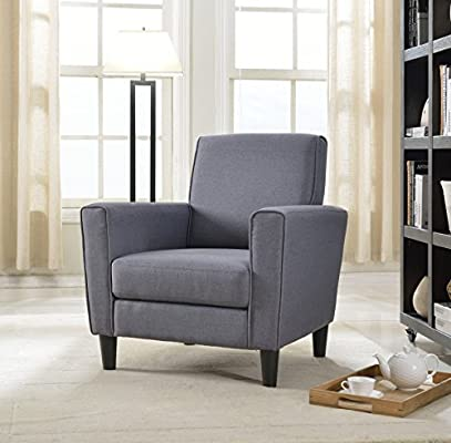 Us Pride Furniture Contemporary Solid Colored Fabric Accent Chair Gray