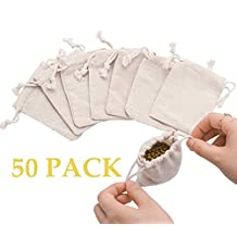 50pcs Small Cotton Double Drawstring Bags Reusable Muslin Cloth Gift Candy Favor Bag Jewelry Pouches for Wedding DIY Craft Soaps Herbs Tea Spice Bean Sachets Christmas (3.0x4.0 inch)