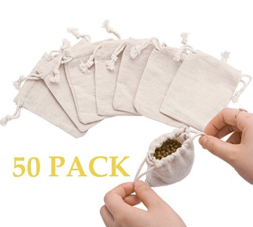 Double Drawstring - 50pcs Small Cotton Double Drawstring Bags Reusable Muslin Cloth Gift Candy Favor Bag Jewelry Pouches for Wedding DIY Craft Soaps Herbs Tea Spice Bean Sachets Christmas, 3x4 inch