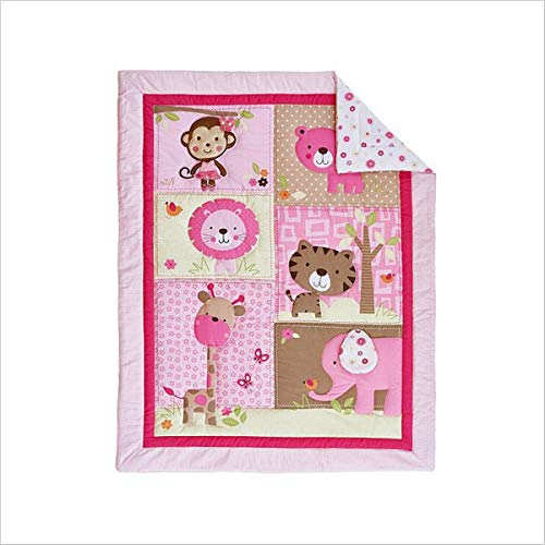 WINLIFE Crib Bedding Set for Girls & Boys Crib Quilts 33''x42'' Baby Quit (Pink Zoo)