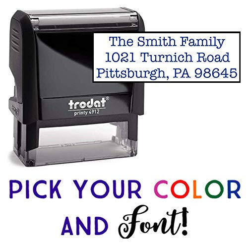 (Custom Stamp - 20 Font Options - Self-Inking Address Stamp - Up to 3 Lines)