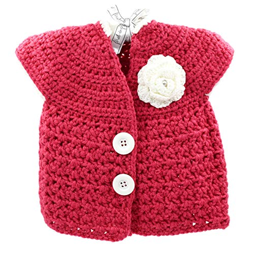 Magic Needles Handmade Knit Baby Infant Newborn Winter Woolen Full Sleeves Sleeveless Sweater Pullover Cardigan (Coral Red 463, 12-24 mths) ()