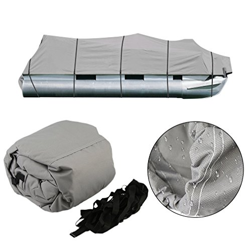 Graspwind Fabric Trailerable Pontoon Boat Cover Durable 600D Oxford Waterproof Heavy Duty Storage Tool Accessories-Marine Grade Polyester Canvas Fits for 17-20 Ft Length Boats