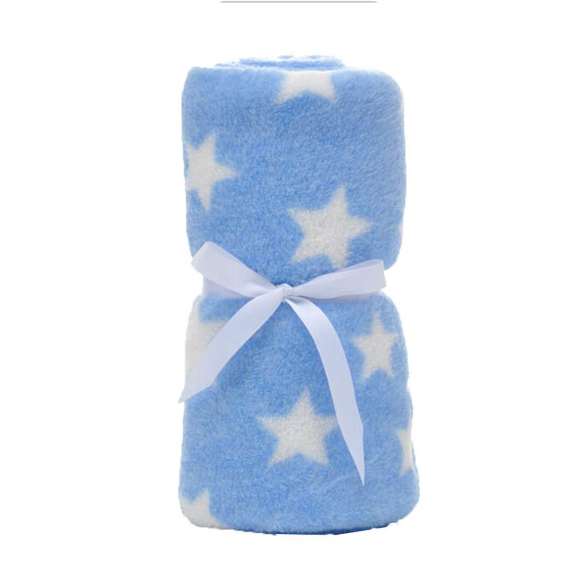 Idiytip Babydecken Neugeborenen Cartoon Weiche Decke Korallen Fleece Swaddle Wrap Bettw/äsche Set F/ür Kinder Blaue Streifen