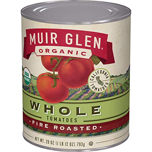 Muir Glen Canned Tomatoes, Organic Whole Tomatoes, Fire Roasted, No Sugar Added, 28 Ounce Can