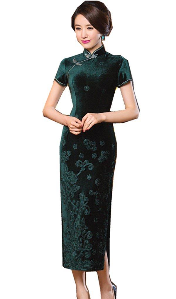 Shanghai Story Floral Embrodiery Qipao Dress Velvet Long Cheongsam M Green