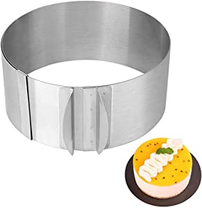 Meichu Stainless Steel 6 to 12 Inch Adjustable Cake Mousse Mould Cake Baking Cake Decor Mold Ring