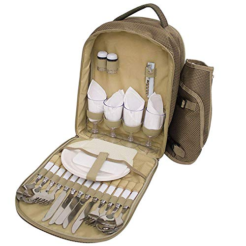 31 Piece Quality 4 Person Rucksack Picnic Set, Including Insulated Cool Bag...