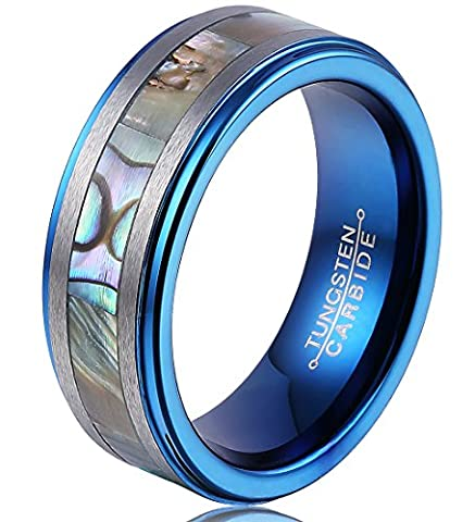 FCL Tungsten Rings For Men 8MM Abalone Shell Inlay Center Matte Brushed Edges Blue Plated Inner Step (Abalone Inlay Band Ring)
