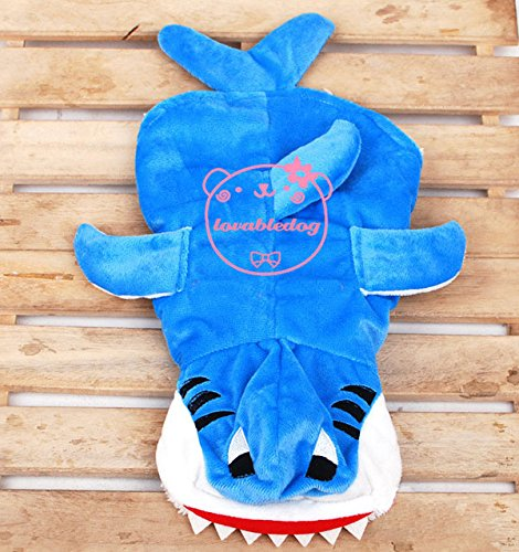 SMALLLEE_LUCKY_STORE Pet Cat Dog Clothes Velvet Shark Jumper Fleece Lining Jumpsuit Small Dog Costume Blue L