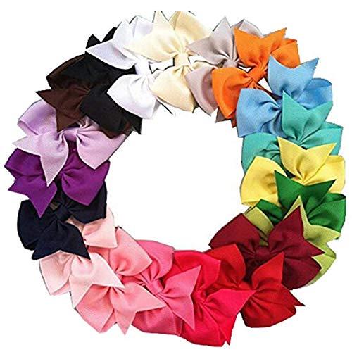 20pcs 3 Boutique Hair Bows Girls Kids Children Alligator Clip Grosgrain Ribbon Headbands 20 Color.