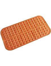 سجادة حمام مضادة للانزلاق مصنوعة من مادة البولي فينيل كلورايد لتدليك الحمام - برتقالي - 37 × 68 سم
