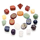 Top Plaza 7 Chakra Healing Crystals Natural Gemstones Kit W/Platonic Solids Crystals,Engraved Chakra Symbol Holistic Balancing Stones,Tumbled Palm Stones Reiki,Yoga Meditation,Wicca,Therapy