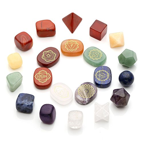 Top Plaza 7 Chakra Healing Crystals Natural Gemstones Kit W/Platonic Solids Crystals,Engraved Chakra Symbol Holistic Balancing Stones,Tumbled Palm Stones Reiki,Yoga Meditation,Wicca,Therapy by Top Plaza