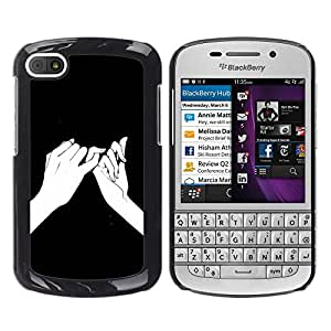 iKiki Tech / Estuche rígido - Hands Ink Drawing Black Meaning - BlackBerry Q10