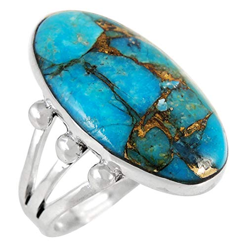 Turquoise Ring Sterling Silver 925 & Genuine Copper-Infused Matrix Turquoise (Large, 10)