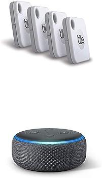 4-Pack Tile Mate Item Tracker (2020) + Echo Dot (3rd Gen)