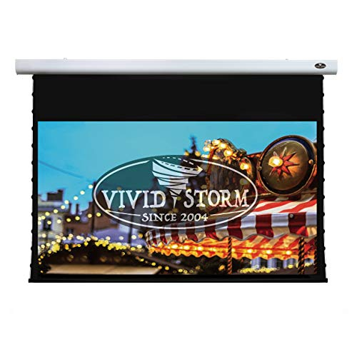 VIVIDSTORM 4K/3D/UHD Mortar Mount Tab-tensioned Screen,Electric Drop Down Projector Screen,110-inch Diagonal 16:9, with White Screen Material, Wireless 12V Projector Trigger,Model:VXZLW110H