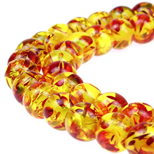 JARTC Best Sellers Synthesis Beads Resin Flower Amber Round Loose Beads For Jewelry Making Diy Bracelet Necklace (8mm)