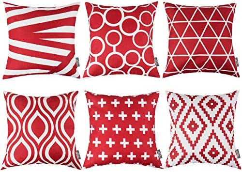 HOMFREEST Red Throw Pillows Case Geometric Pattern Throw Pillow Covers 18\