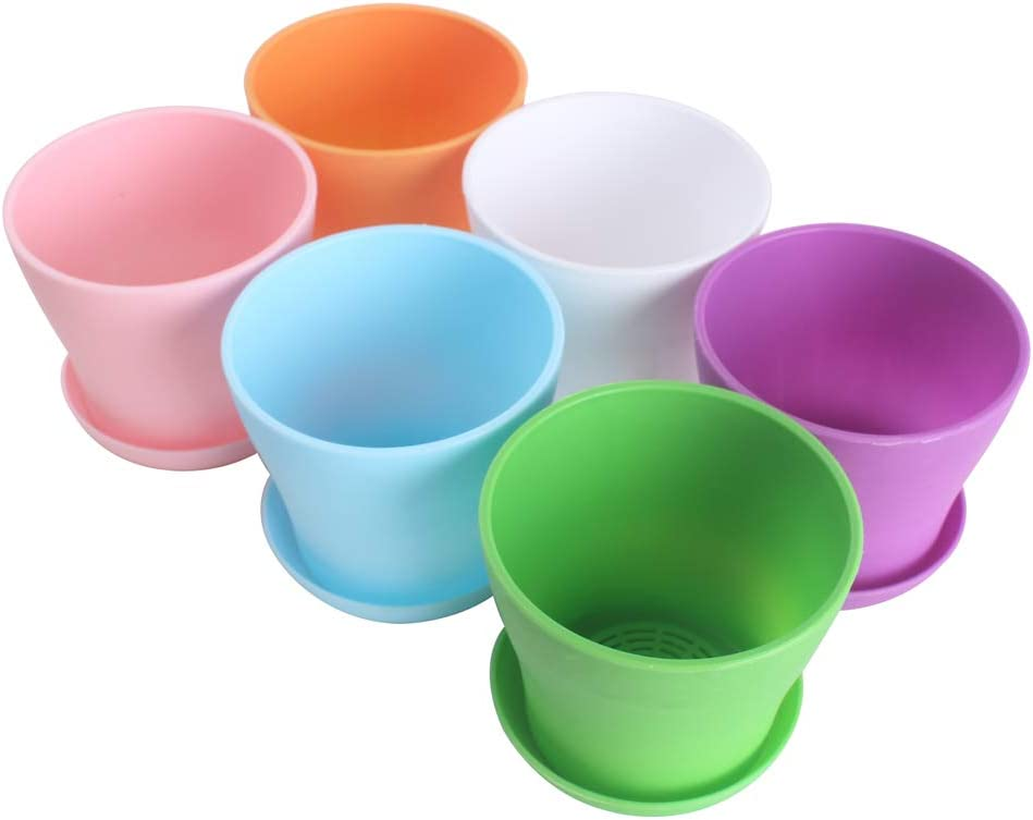 WARMBUY 6 Pack Colorful Round Plastic Plant Pots with Saucers
