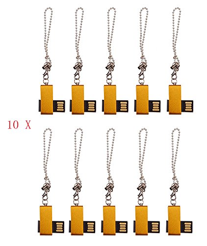 FEBNISCTE 2GB USB 2.0 Flash Memory Stick - Mini Metal Gold Swivel -Pack of 100 by FEBNISCTE