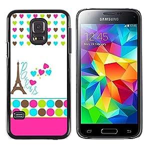 Paccase / SLIM PC / Aliminium Casa Carcasa Funda Case Cover - Polka Dot White Heart France Eifel - Samsung Galaxy S5 Mini, SM-G800, NOT S5 REGULAR!
