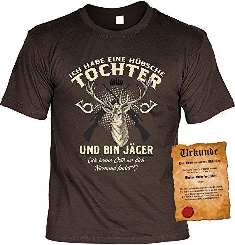 T-Shirt mit Urkunde - Bin Jäger und habe eine hübsche Tochter - Geschenk Set Funshirt mit Urkunde als Geschenk zum Vatertag für Väter mit Humor
