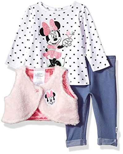 Disney Baby Girls' Minnie Mouse 3 Piece Vest, Top, and Pants, White, 3-6 Months (Clothing Mouse Minnie)