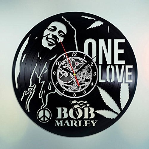 Fun Door Bob Marley Handmade Vinyl Record Wall Clock for Birthday Wedding Anniversary Valentine's Mother's Ideas for Men and Women him and her