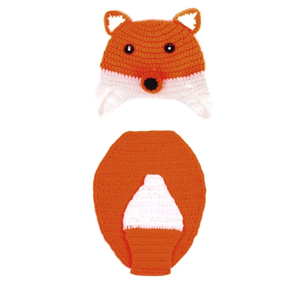 DierCosy Newborn Baby Photography Props Fox Outfit Crochet Knitted Clothes Costume Set with Handmade Knitted Hat for Girls, Boys BabyProducts