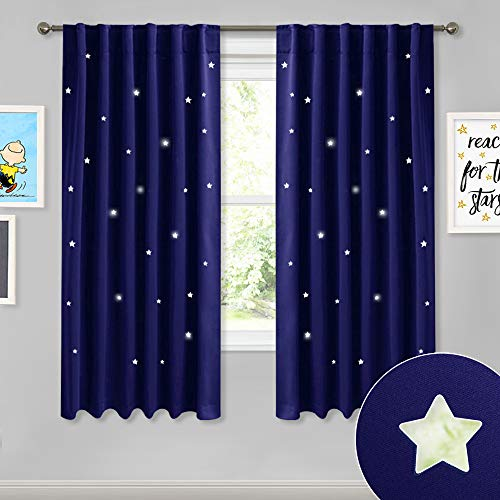 NICETOWN Blackout Curtains for Kids Room - Rod Pocket & Back Tab Space Inspired Night Sky Twinkle Star Bedroom Window Treatment Draperies Panels, Dark Blue, Set of 2 Panels, 52 Wide x 63 Long inches (Kids Room Curtain Rods)