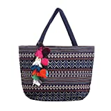 YS·AU Bohemian Large Polyester Tote - Folding Beach Shopping Travel Bag(Ornaments Not Included)