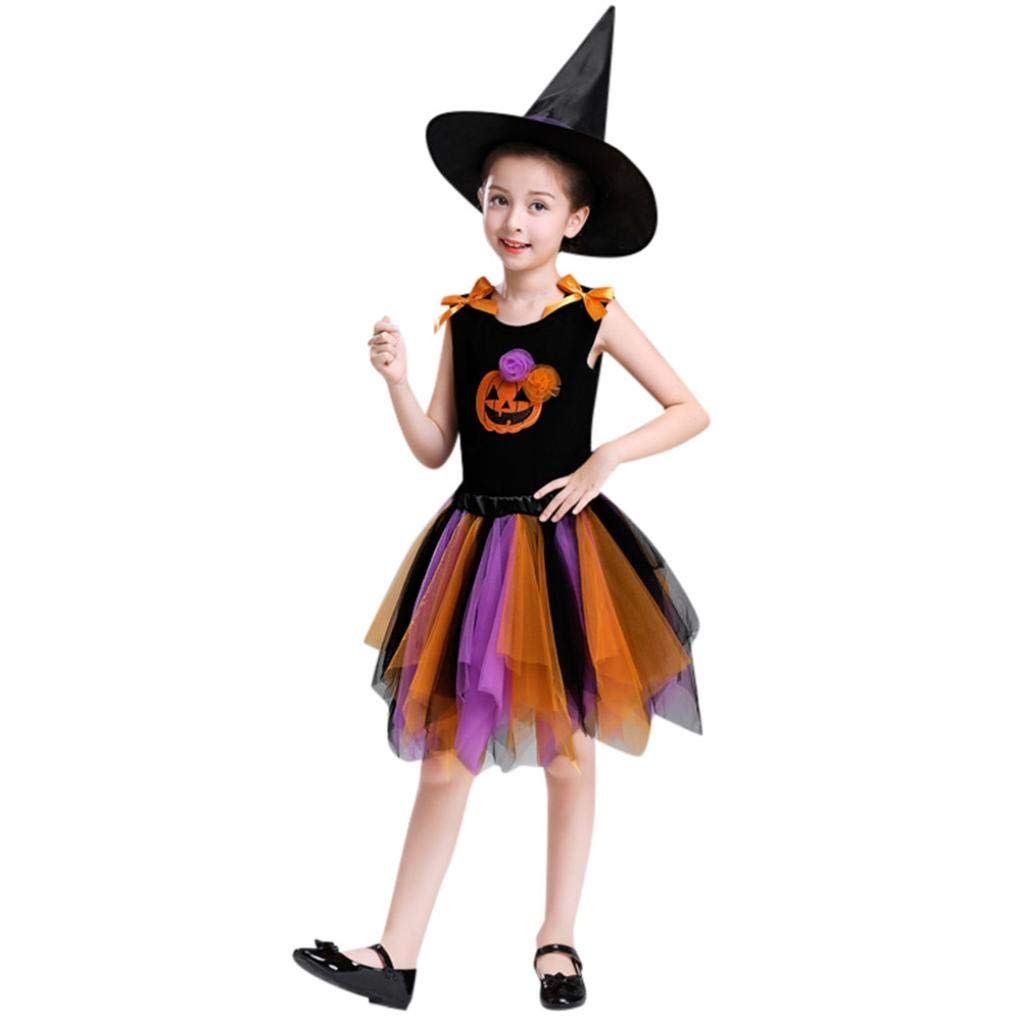 2-10T Baby Girls Halloween Costume Gifts Cartoon Pumpkin Dance Tutu Skirt Tops Hat 3pcs Clothes Set Party Dress up (Orange, 4T)