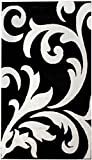 Contemporary Black Damask Rug 7-Foot 10-Inch x 9-Foot 10-Inch Designer Area Rug For Sale