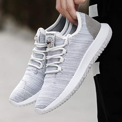 Casual Malla QinMM Running Gris Zapatos de Respirable Deportes para Cordones Hombre Gym Zapatillas otoño Verano Primavera Ux5qzHwx