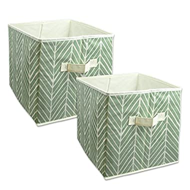 DII Foldable Fabric Storage Containers for Nurseries, Offices, Closets, Home Décor, Cube Organizers & Everyday Storage Needs, (Large - 11 x 11 x 11 ) Herringbone Mint - Set of 2