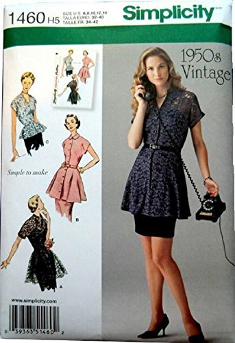 Simplicity 1950's Vintage Pattern 1460 Misses Vintage Style Tunic and Peplum Blouse Size 6-8-10-12-14