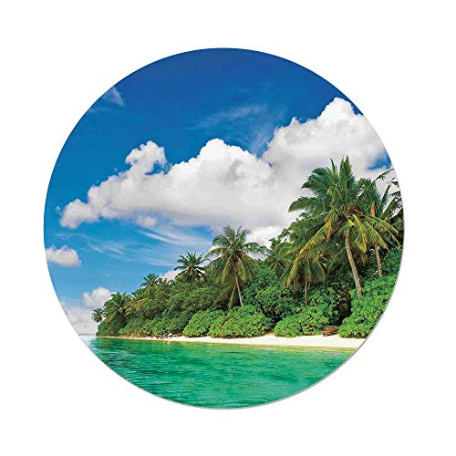 iPrint Polyester Round Tablecloth,Ocean,A Surreal View in Tropical Island Palm Trees Ocean and Sky Exotic Lands,Turquoise Green White,Dining Room Kitchen Picnic Table Cloth Cover,for Outdoor Indoor