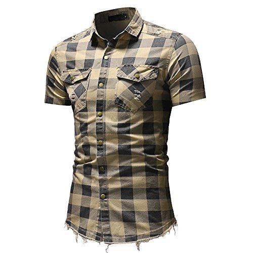 Men's Short Sleeve Plaid Shirt Slim Fit Button Down Shirts Blouse Top with Pocket (L, Beige)