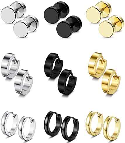 FIBO STEEL 9 Pairs Stud Earrings Hoop Earrings Set for Men Women Stainless Steel Earring 18G