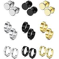 FIBO STEEL 9 Pairs Stud Earrings Hoop Earrings Set for Men Women Stainless Steel Earring 18G