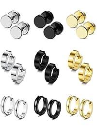 Subiceto 9 Pairs Stainless Steel CZ Stud Earrings Hoop Earrings Gauge Earrings Set for Men Women piercing earrings