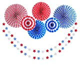 LOLOAJOY 6pcs Hanging Paper Fan Decoration USA Red White and Blue Tissue Hanging Paper Fans Set & 2 pack Star Streamers Patrioticfor Party Birthday Events Supplies