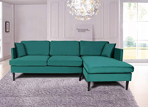 Mooseng Modern L-Shape Sofa Velvet Fabric Convertible Tufted Sleeper Sectional Couches with 2-Seater Chaise,Easy Assembly, Green