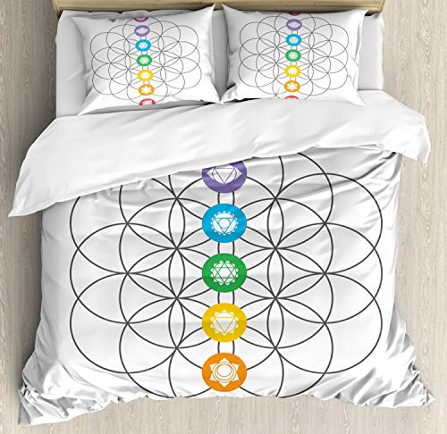 Ambesonne Sacred Geometry Duvet Cover Set King Size, Chakra Points in Vintage Concentric Rings of Partial Circle Zen Theme Image, Decorative 3 Piece Bedding Set with 2 Pillow Shams, Multicolor